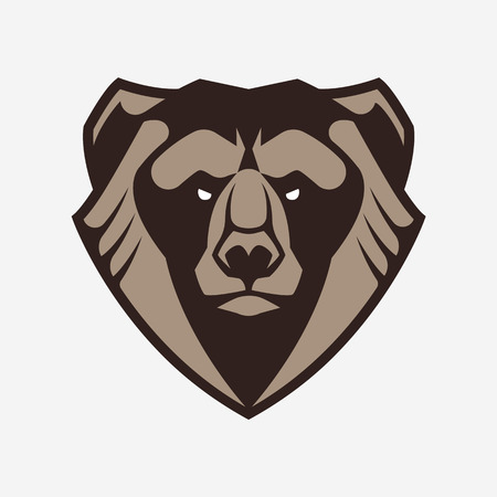 Bear mascot vector art. Frontal symmetric image of bear looking dangerous. Bear head vector icon.