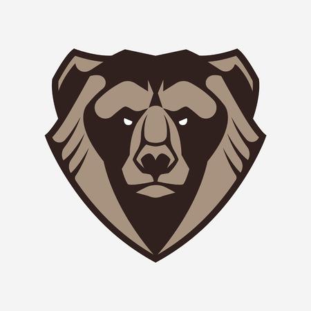 Bear mascot vector art. Frontal symmetric image of bear looking dangerous. Bear head vector icon.