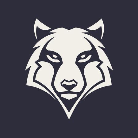 Arte vettoriale mascotte lupo. Immagine frontale simmetrica del lupo che sembra pericoloso. Icona monocromatica di vettore. Vettoriali