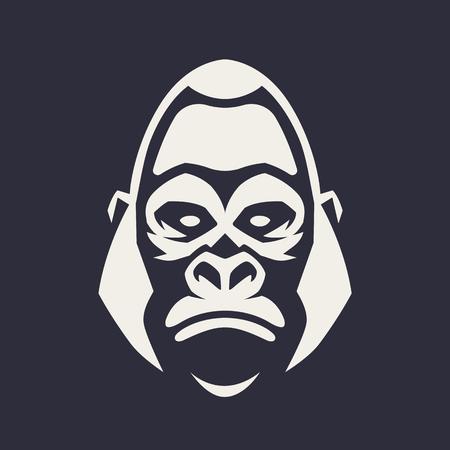 Arte vettoriale mascotte gorilla. Immagine frontale simmetrica di un gorilla che sembra pericoloso. Icona monocromatica di vettore. Vettoriali