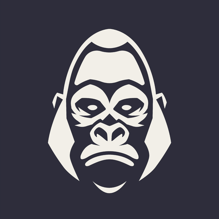 Gorilla mascot vector art. Frontal symmetric image of gorilla looking dangerous. Vector monochrome icon. Banque d'images - 112955928