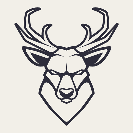Deer mascot vector art. Frontal symmetric image of deer looking dangerous. Vector monochrome icon.  イラスト・ベクター素材