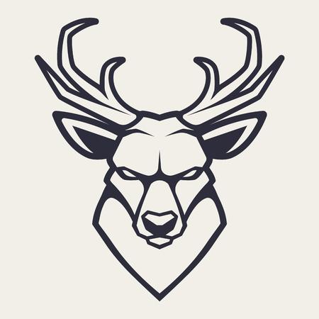 Herten mascotte vector kunst. Frontaal symmetrisch beeld van herten die er gevaarlijk uitzien. Vector zwart-wit pictogram.