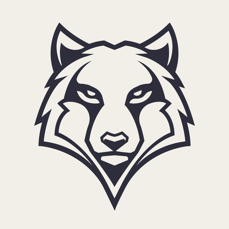 Wolf mascot vector art. Frontal symmetric image of wolf looking dangerous. Vector monochrome icon.