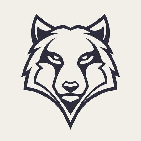 Arte del vector de la mascota del lobo. Imagen simétrica frontal de lobo con aspecto peligroso. Icono monocromo de vector. Ilustración de vector