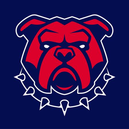 Bulldogge im Stachelhalsband-Vektormaskottchen. Frontales symmetrisches Bild der roten Bulldogge, die gefährlich aussieht. Vektor-Symbol.