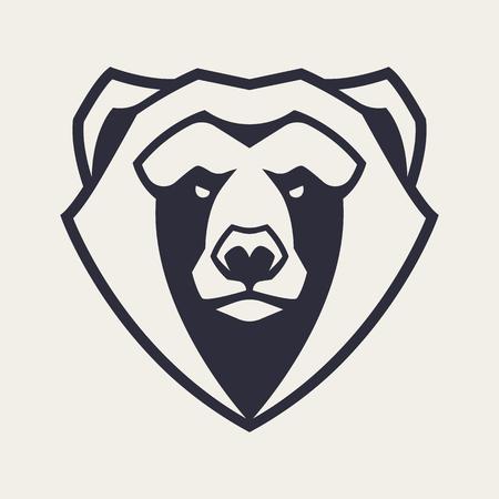 Arte del vector de la mascota del oso. Imagen simétrica frontal de oso que parece peligroso. Icono monocromo de vector.