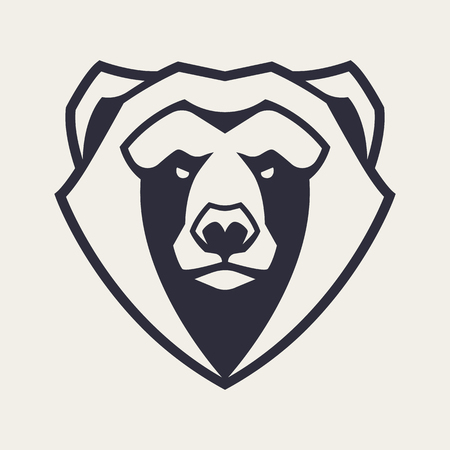 Bear mascot vector art. Frontal symmetric image of bear looking dangerous. Vector monochrome icon..
