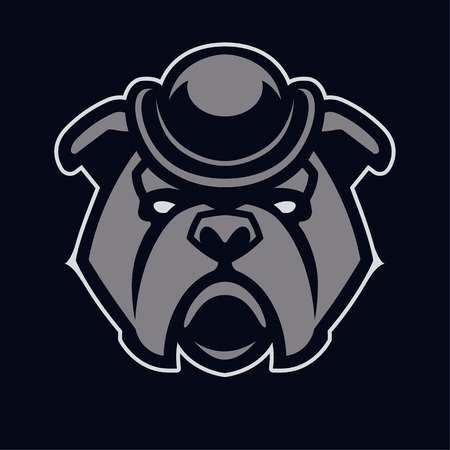 Bulldog in hat mascot vector art. Frontal symmetric image of bulldog in hat looking dangerous. Vector icon.