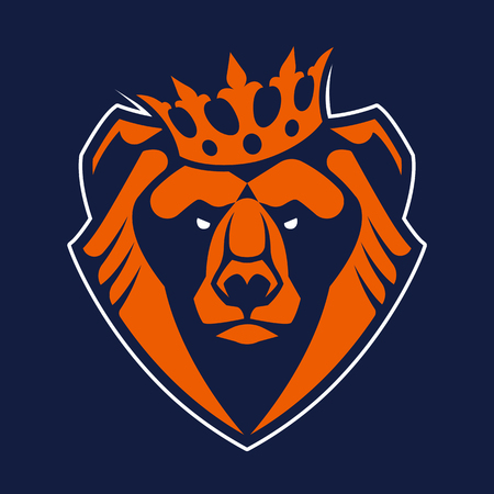 Bear in crown mascot vector art. Frontal symmetric image of bear in crown looking dangerous. Bear head vector icon.