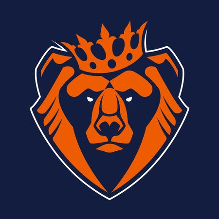 Bear in crown mascot vector art. Frontal symmetric image of bear in crown looking dangerous. Bear head vector icon.