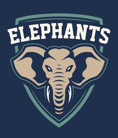 Disegno dell'emblema di sport della mascotte dell'elefante. Modello di logo della squadra sportiva con elefante che sembra pericoloso Illustrazione vettoriale. Logo