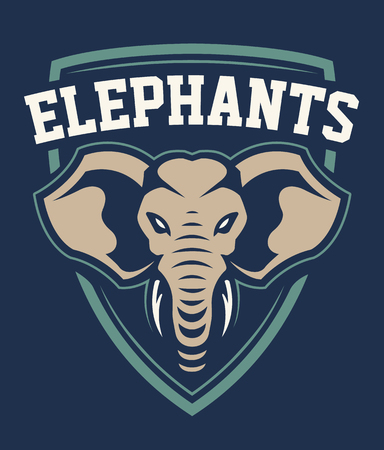 Elephant Mascot Sport Emblem Design. Sport team logo template with elephant looking dangerous. Vector illustration. Illustration