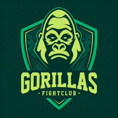 Plantilla de diseño de emblema de mascota gorila. Diseño de logotipo del equipo deportivo con gorila que parece peligroso. Ilustración de vector.