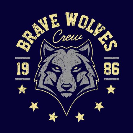Disegno dell'emblema di lupo mascotte grunge. T-shirt design per squadra sportiva con lupo che sembra pericoloso. Arte vettoriale. Vettoriali