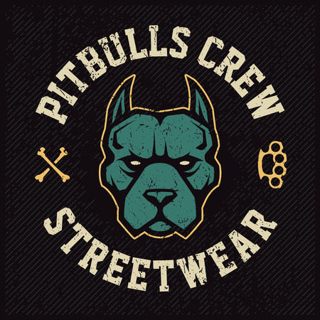 Pitbull mascot emblem design template. T-shirt design with pitbull looking dangerous. Grunge vector art. Ilustração