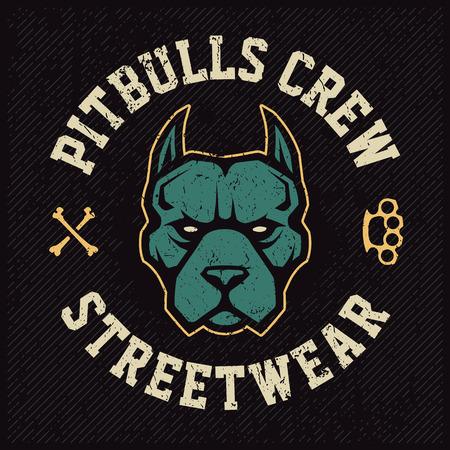 Pitbull mascot emblem design template. T-shirt design with pitbull looking dangerous. Grunge vector art. Illustration