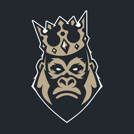 Gorilla in crown mascot vector art. Frontal symmetric image of gorilla in crown looking dangerous. Vector icon.
