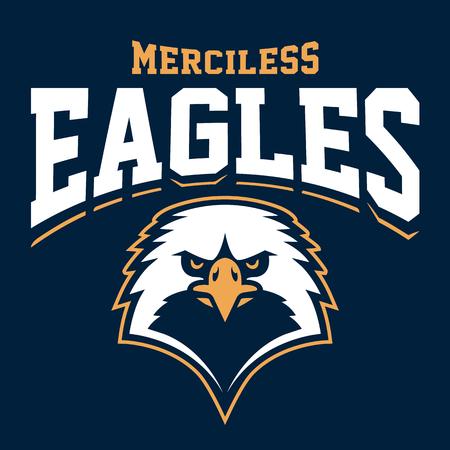 Eagle mascot sport emblem design. Sport team logo template with eagle looking dangerous. Vector art. Иллюстрация