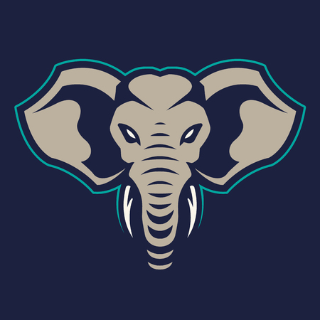 Elephant mascot vector art. Frontal symmetric image of elephant looking dangerous. Vector icon.