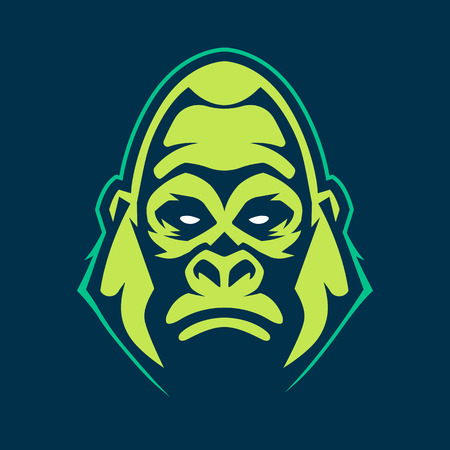 Gorilla mascot vector art. Frontal symmetric image of gorilla looking dangerous. Vector icon. Ilustrace