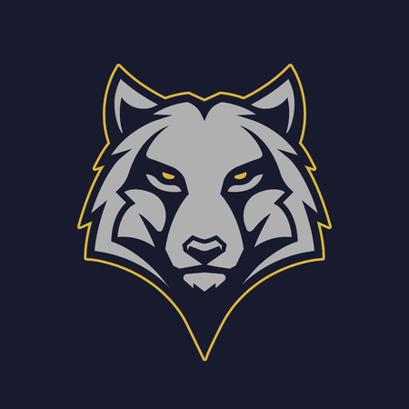 Wolf mascot vector art. Frontal symmetric image of wolf looking dangerous. Vector icon.