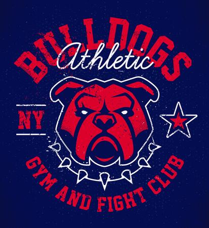 Bulldog emblem design template. Red bulldog in spiked collar on deep blue grunge background. Vector logo design for sport team.