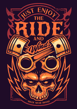 Tattoo style vector art with bike attributes: two crossed pistons, skull, fire and lightnings. Typography saying 'Just Enjoy the Ride'. Weathered grunge style print for bikers.