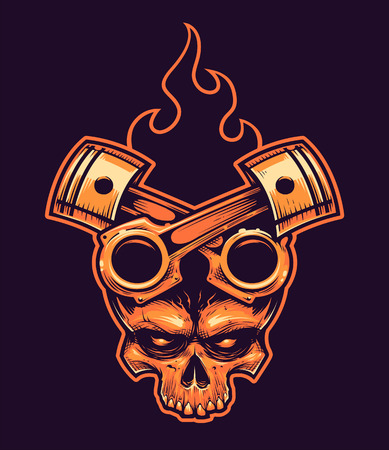 Vector Skull with Crossed Pistons and Fire. Tattoo style hand-drawn illustration.