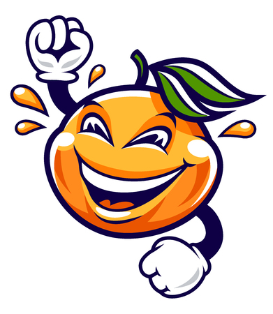 Funny smiling mandarin vector character with hands isolated on white. Cute cartoon fruit with happy face and juice drops around. Vector art.