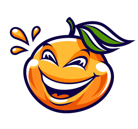 Funny smiling mandarin vector character isolated on white. Cute cartoon orange fruit with happy face and juice drops around. Vector art. Çizim