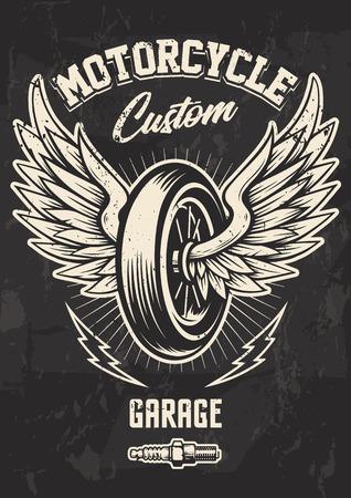 Vintage Biker Design with Winged Wheel, lightnings and spark plug. Grunge poster design template. Illustration