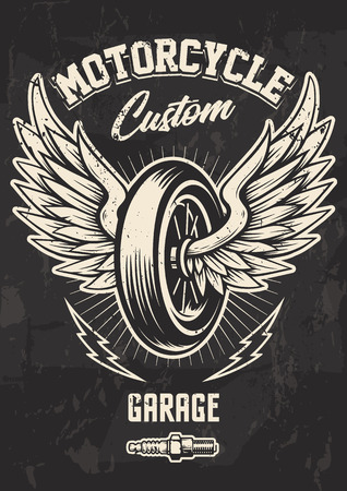 Vintage Biker Design with Winged Wheel, lightnings and spark plug. Grunge poster design template. Ilustração