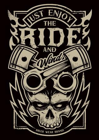 """Arte vectorial de estilo tatuaje con atributos de bicicleta: dos pistones cruzados, calavera, fuego y relámpagos. Tipografía que dice """"Simplemente disfruta del viaje"""". Impresión de estilo grunge degradado para ciclistas. Ilustración de vector"""