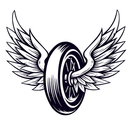 Vector Motorcycle Wheel with Wings isolated on white. Monochrome tattoo style symbol for bikers.