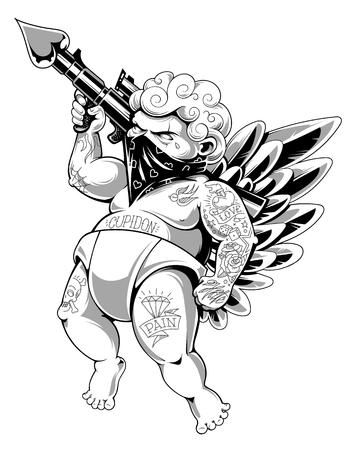 Cupidon tatoué en bandana avec pistolet chargé d'amour. Gros guerrier d'amour agressif tatoué. Illustration vectorielle moderne. Version monochrome. Vecteurs