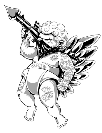 Tattooed cupid in bandana with gun loaded of love. Fat tattooed aggressive love warrior. Modern vector illustration. Monochrome version. Stock Illustratie