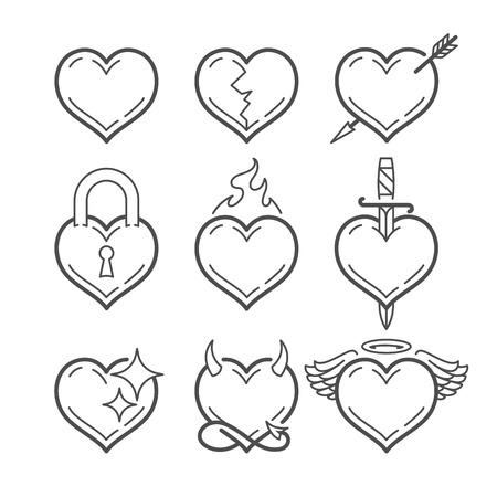 Set lijn kunst vector harten met verschillende elementen geïsoleerd op wit. Hart vorm lijn kunst pictogrammen.