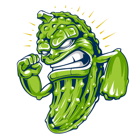 Powerful cucumber mascot vector art. Crazy fresh cucumber character isolated on white.