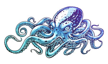 Arte di vettore dell'annata del polpo blu isolata su bianco. Illustrazione di vettore di stile di incisione di polpo.