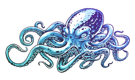 Blue Octopus Vintage Vector Art isolated on white. Engraving style vector illustration of octopus. Vettoriali
