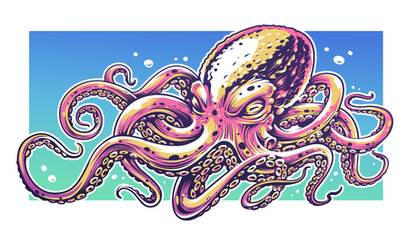 Octopus Vector Art with bright colors. Graffiti style vector illustration of octopus. Vettoriali