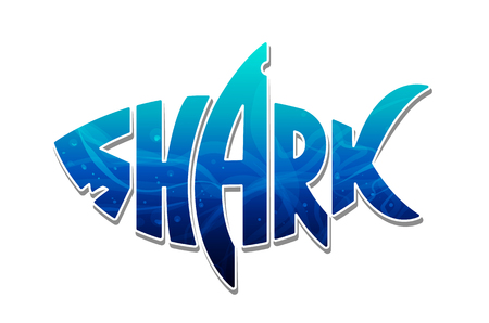The word shark inscribed in shape of a shark filled of blue ocean water. Colorful shark logo. Vector shark lettering isolated on white.
