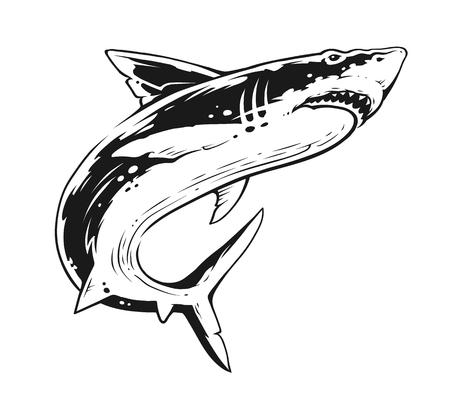 Tiburón en movimiento. Arte vectorial de contraste en blanco y negro. Ilustración de vector