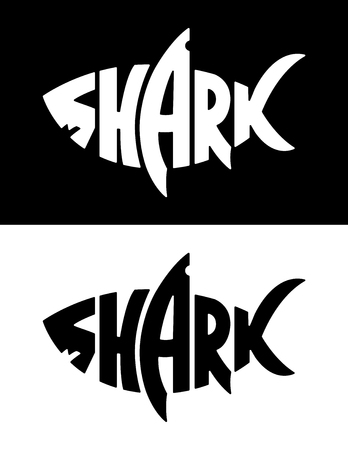 Shark lettering in shark silhouette. Lettering with shark shape. Black and white vector shark logo. Negative and positive versions. Çizim