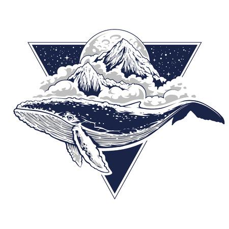 Tajemnicza sztuka boho z wielorybów latających w powietrzu. Chmury, góry i księżyc w tle. Gwiaździste niebo w kształcie trójkąta. Abstrakcyjna surrealistyczna ilustracja z motywami świętej geometrii. Sztuka wektor.