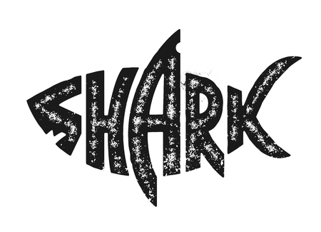 Shark lettering in shark silhouette. Grunge lettering with shark shape. Black and white distressed vector shark logo. Çizim