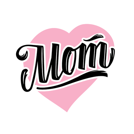 Word Mom tattoo style lettering on heart shape isolated on white. Vector art. Ilustracja