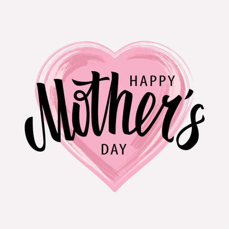 Happy Mother's Day Vector Lettering  on watercolor heart shape. Vector art.