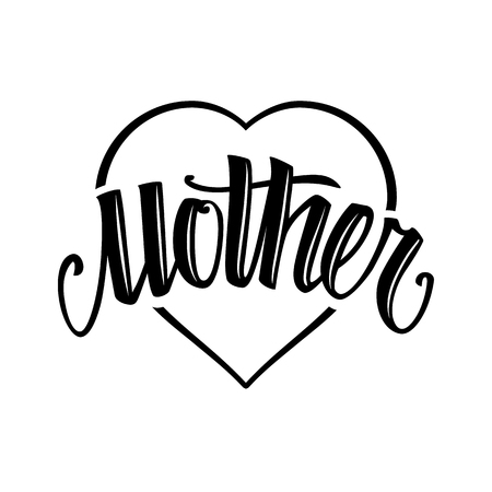 Word Mother tattoo style lettering on heart shape isolated on white. Vector art.